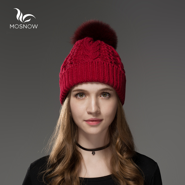 Mosnow 2016 Cotton Acrylic Fox Raccoon Fur Pom Poms Winter Hats For Women  Vogue Warm Knitted Thick Hat Female Skullies Beanies