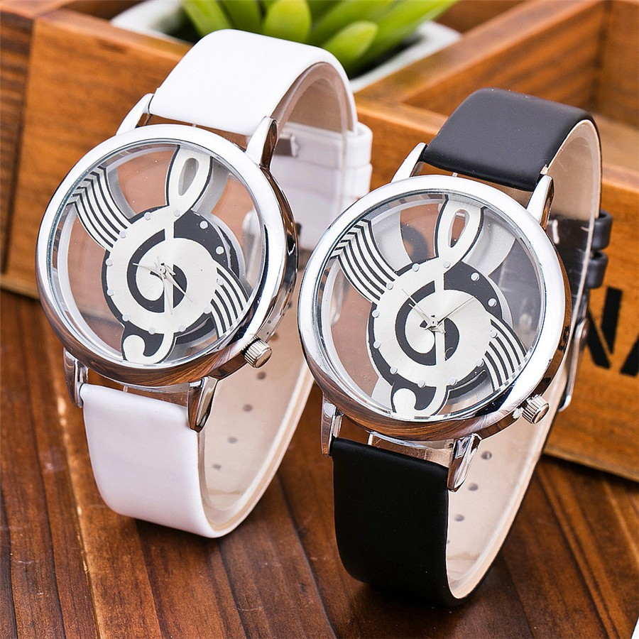 2019 Unique Women Quartz Analog Hollow Musical Note Style Leather WristWatches Ladies Gifts Casual Watch Female Relogio Feminino