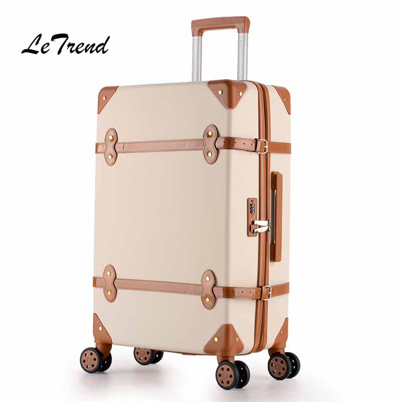 цена на Letrend Women Suitcases Wheel Trolley Rolling Luggage Spinner vintage Travel Bag Student Carry on Luggage password Hardside