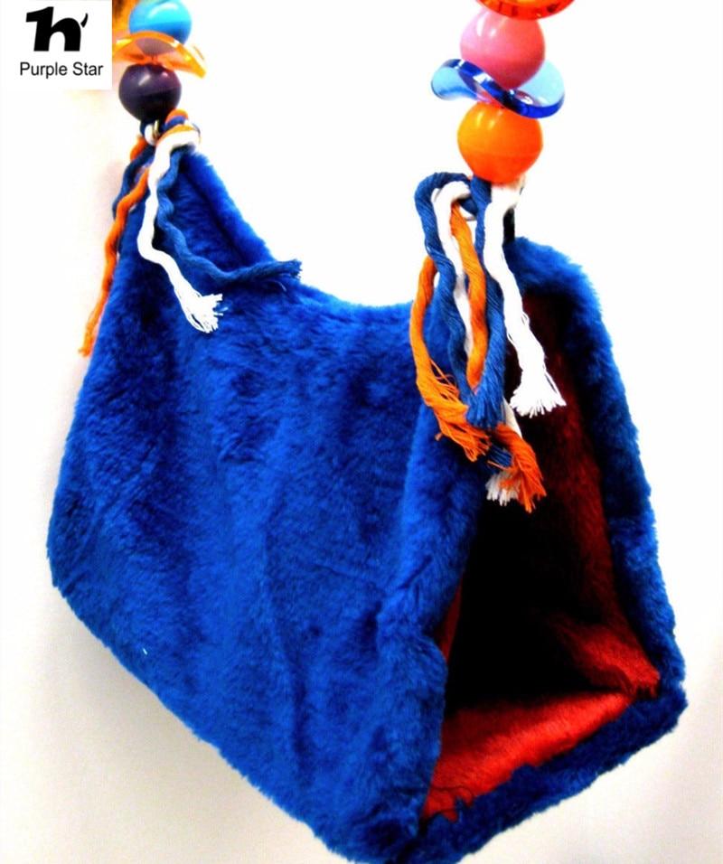 Paars Ster Papegaai Gelukkig Hut Pet Kooi Snuggle Tent Stapelbed Vogel Speelgoed Opgeschort Warm Kooien Nest Shed Swing Slaapkamer Parkieten Hangmat