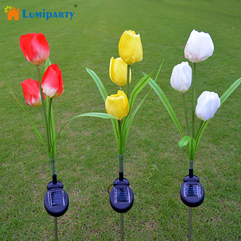 Lumiparty solar tulip flower lights solar powered garden - Decorative garden lights solar powered ...