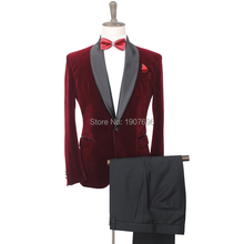 Burgundy Men Suits for Wedding Prom 2018 Black Shawl Lapel Trim Fit Red Wine Blazer Retro Groom Tuxedos Two Piece Jacket Pants