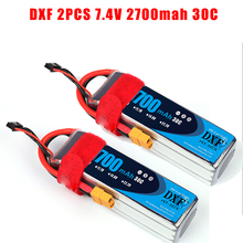 2017 DXF 2PCS Lipo Battery 7.4V 2700mAh 2S 30C Max60C Li-polymer Bateria For RC Helicopter Drone FPV UAV Car Boat Drone truck