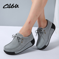 O16U Women Flats Platform Shoes Suede Leather Lace Up Women Moccasins Creepers Slipony Female Casual Summer