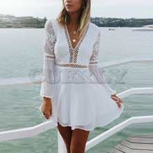 CUERLY New Fashion Women Casual Sexy V-Neck Long Sleeve Lace Trim Short Mini Dress Organza Splice Hollow White Dresses Vestidos