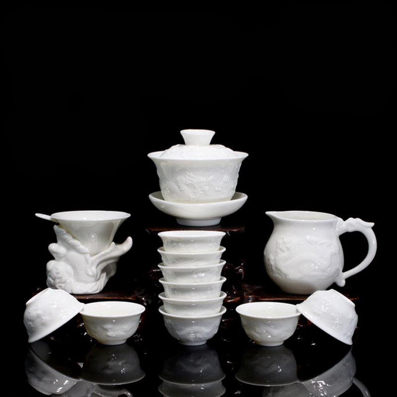 Bone China Ceramic Kung Fu Tea Set Gift Relief Dragon Porcelain 14pcs of Tea Suit with