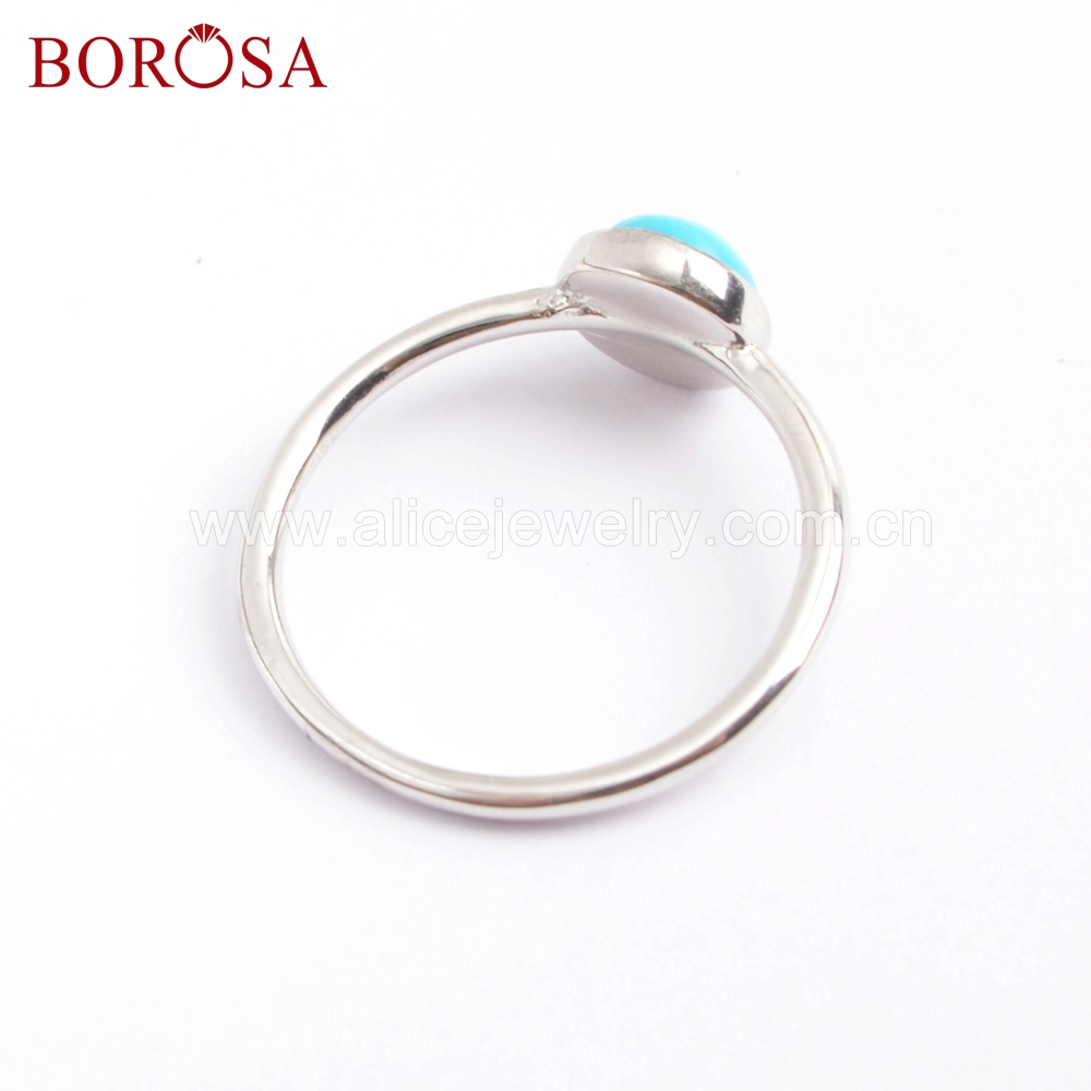 BOROSA 5Pcs Best Quality 92 5 Pure Silver 4mm Stone Round Natural Turquoises Ring Jewelry Size 7 Women Fashion Jewelry SS199 2 in Rings from Jewelry Accessories