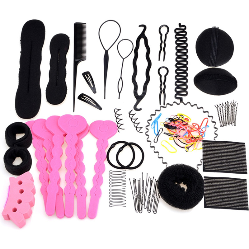 Fashion 20 in 1 Magic Hair Styling Accessories Set Pin Hair Bun Maker Comb Wavy Hoop Styling Tools for Women Girl Gift Headwear