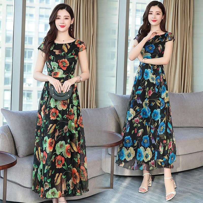 2019 лето новый длинный отрезок талии ретро принт шифоновое платье до щиколотки с длинным рукавом  Лучший!