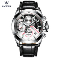 Cadisen Chronograaf Horloges voor Mannen Fashion Business Man Casual Analoog Quartz Horloge met Zwart Lederen Band CL9016-2