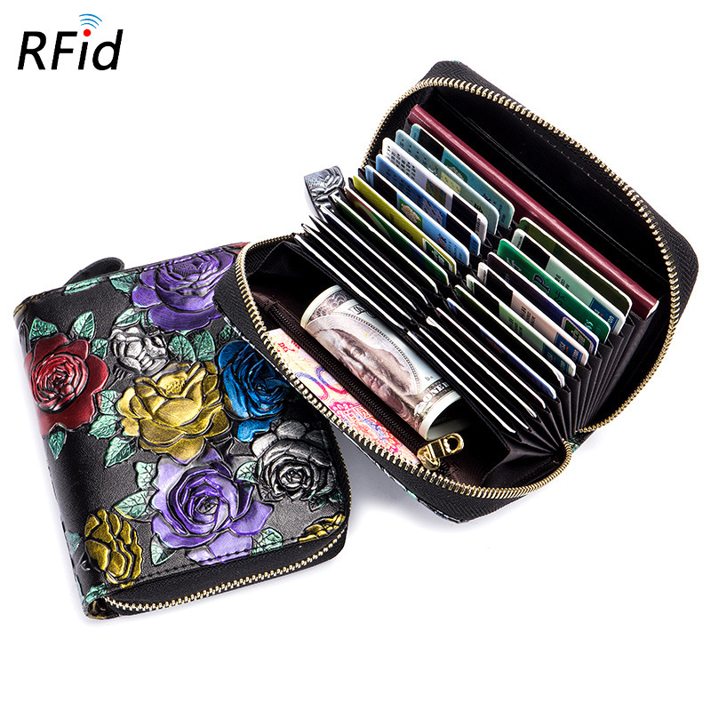 Westcreek Brand Women Leather RFID Zipper Credit Card Holder Organizer Rose Embossed Passport Business Card Case Travel Wallets westcreek brand men women genuine leather rfid zipper credit card holder passport travel wallet coin purse business cards holder