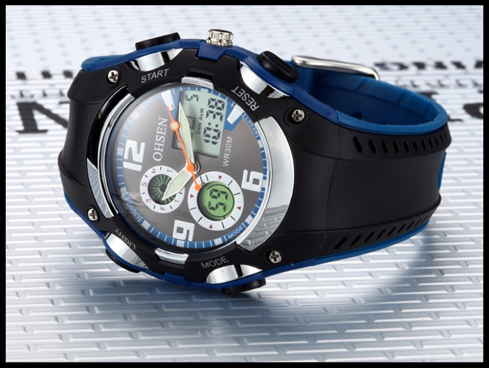 Original Ohsen Brand Fashion Sports Men's Watches 30M Waterproof Rubber Black Rubber Band Digital Sport Wristwatch for Men Gift (36)