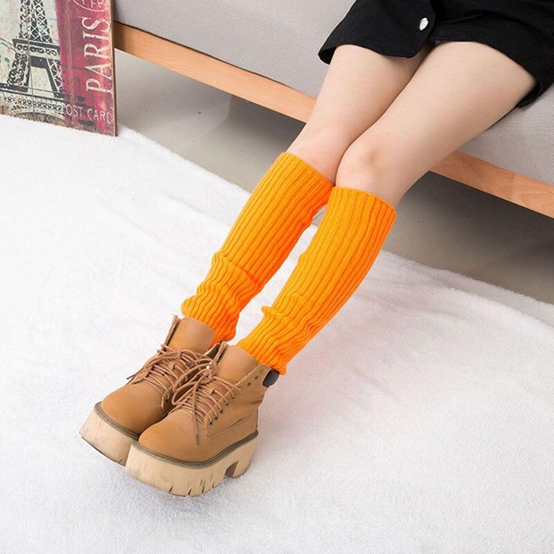10 Colors Winter Warm Leg Warmers Women Casual Long Knitted Leg Warmer Kneepad Fluorescence Color Soft Plush Tube Socks Girls