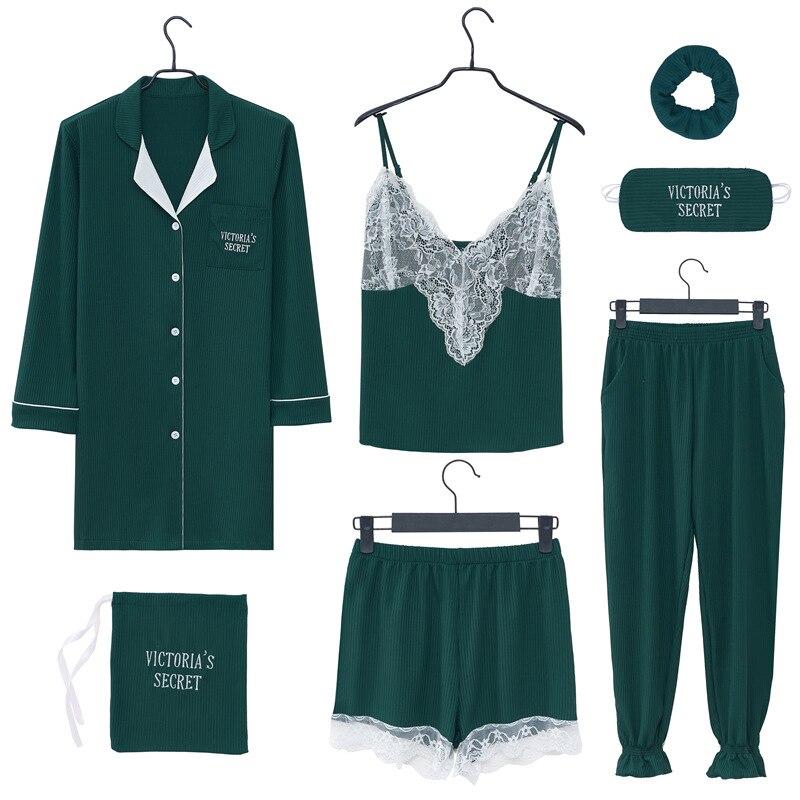 womens   pajamas     sets   Women 7pcs   Pajama     Set   cotton Printing Pijama Homewear Pyjamas Woman Cotton Pyjama   Set   Sleepwear Pl Sleep L
