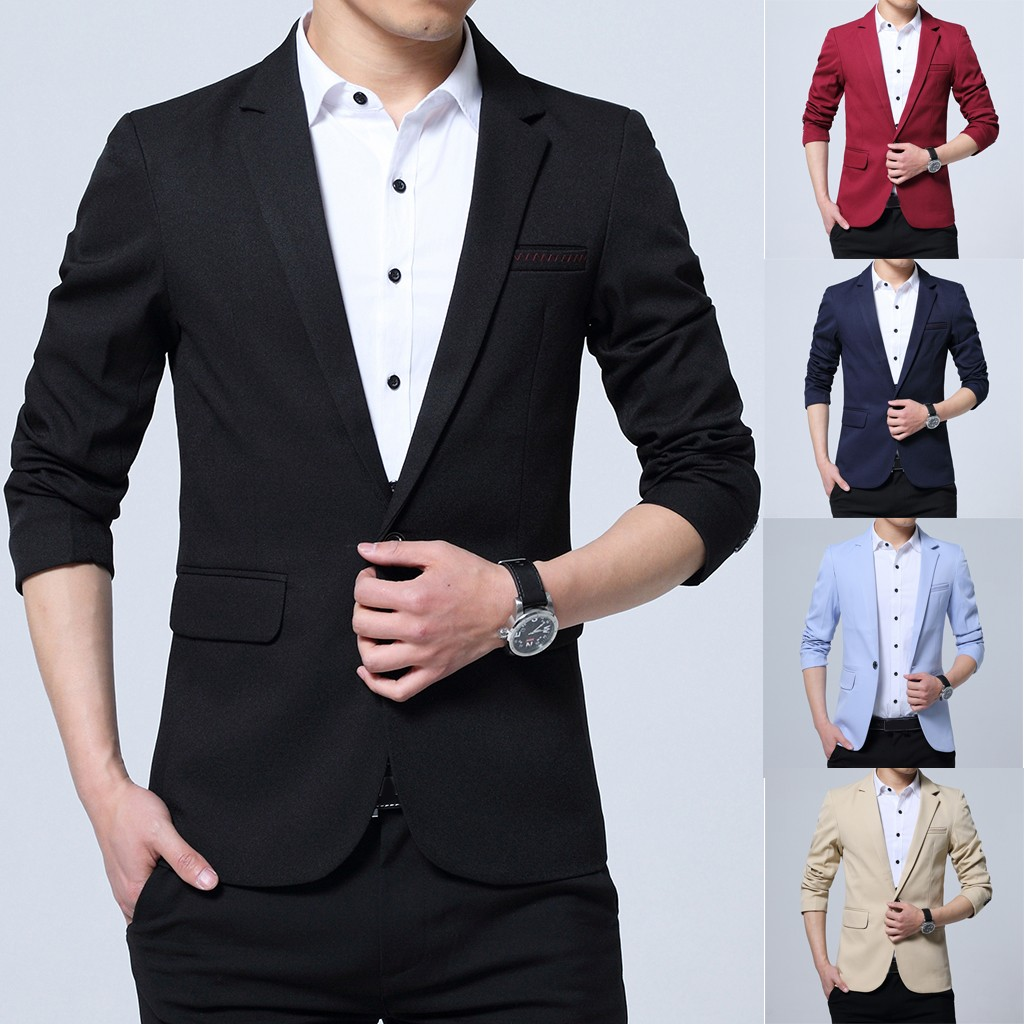 Coat One-Button-Suit Slim-Fit Self-Cultivation Jacketsblends Winter Fashion for Business-Coat