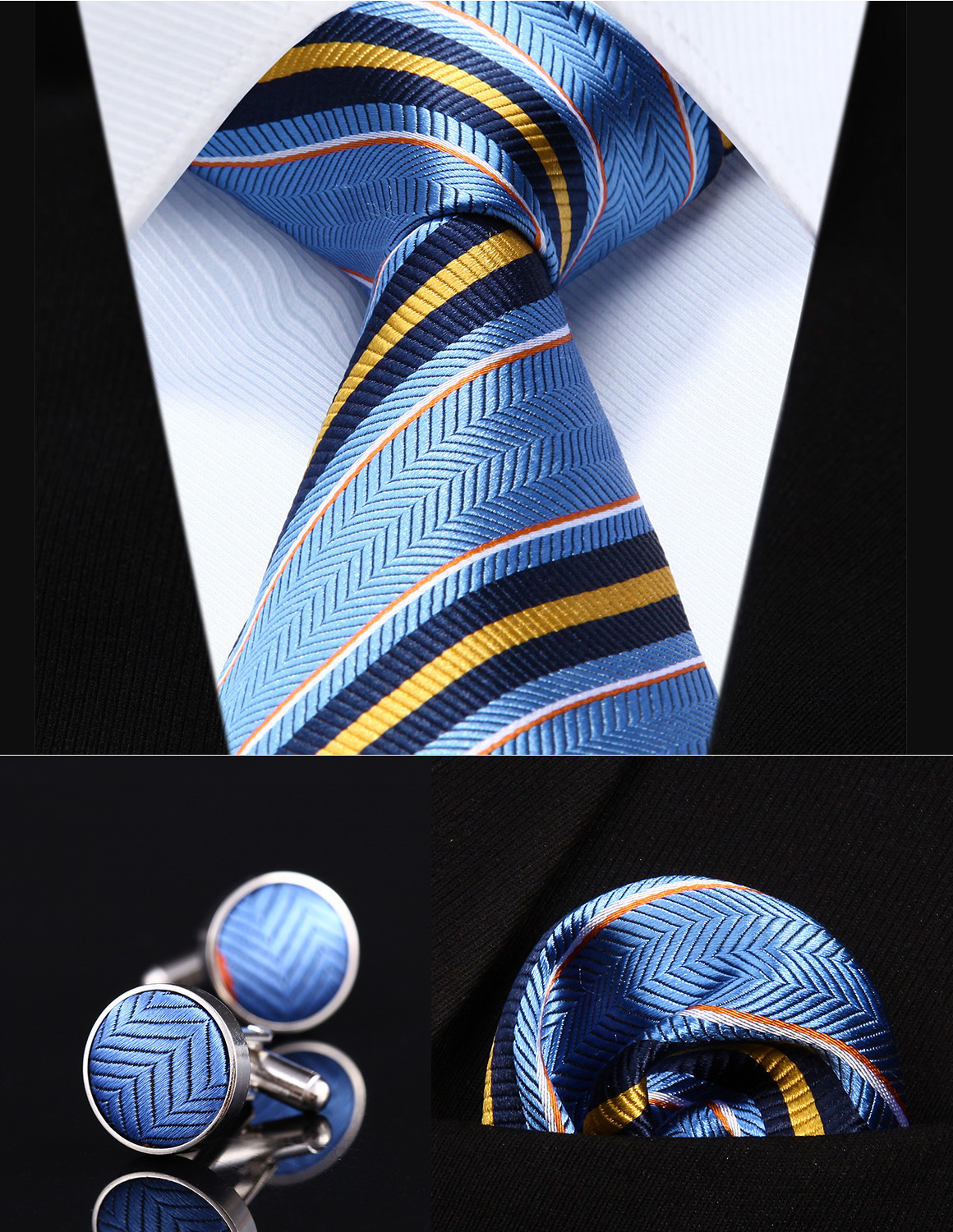 "TZS05B8 Blue Yellow Striped 3.4"" Silk Men Tie Necktie Handkerchief Cufflinks Set"