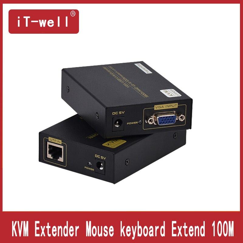 Il-bien KVM Extender 100 m par Cate5e avec USB Souris et clavier/Extender up Cat5/6 à 100 m VGA UTP Extender