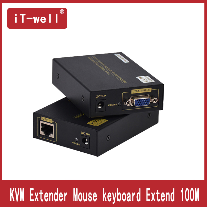iT well KVM Extender 100M by Cate5e with USB Mouse and keyboard/Extender up Cat5/6 to 100M VGA UTP Extender
