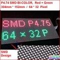 P4.75 interior duas cores led módulo, alta e clara, top1 para exibição de texto, 304*152mm, 64*32 pixel, vermelho, verde, amarelo cor de reboque da matriz