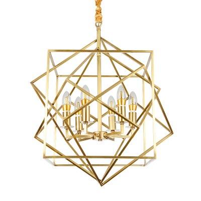European golden copper geometric cube pendant light lamp LED creative diamond square frame simple modern brass Pendant Lamp