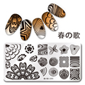 Nail Art Sello Plantilla de Diseño Placa de la Imagen 12*6 cm Rectángulo Elegante Watermarble L005