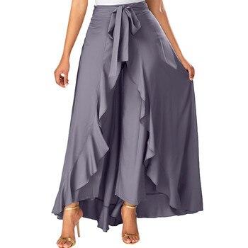 Falda gris de verano con cremallera lateral e informal para mujer, faldas salvajes, Pantalones con revestimiento frontal, falda con volantes, falda larga con lazo, 9321