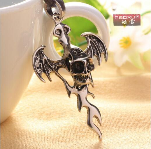 1pc Punk Angry Skull Flame Cross 316L Stainless Steel Weird Hellfire men Necklace Pendant Chain Jewelry