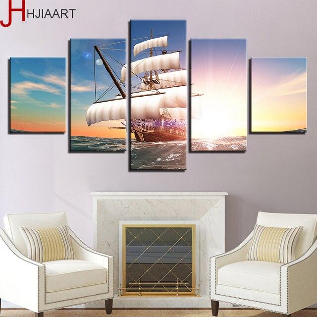 HJIAART Canvas Schilderij Interieur Lijst 5 Stuks Zeilboot Op zee ...