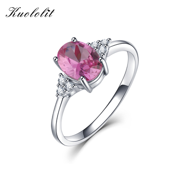 15757684f673 KE004P sólido 925 anillos de plata esterlina para Mujeres creado anillo de  GEMA de rubí Rosa Esmeralda anillo de compromiso de boda regalo de joyería