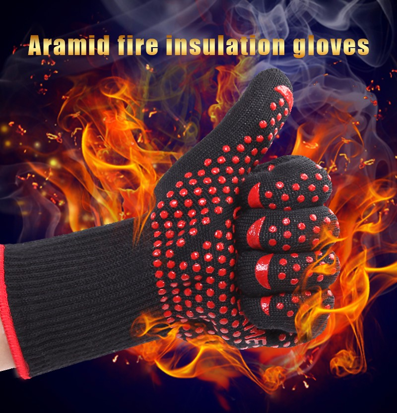 все цены на  1 pair free shipping aramid fire insulation gloves Heat resistant glove 932F bbq glove oven kitchen glove direct supply  онлайн