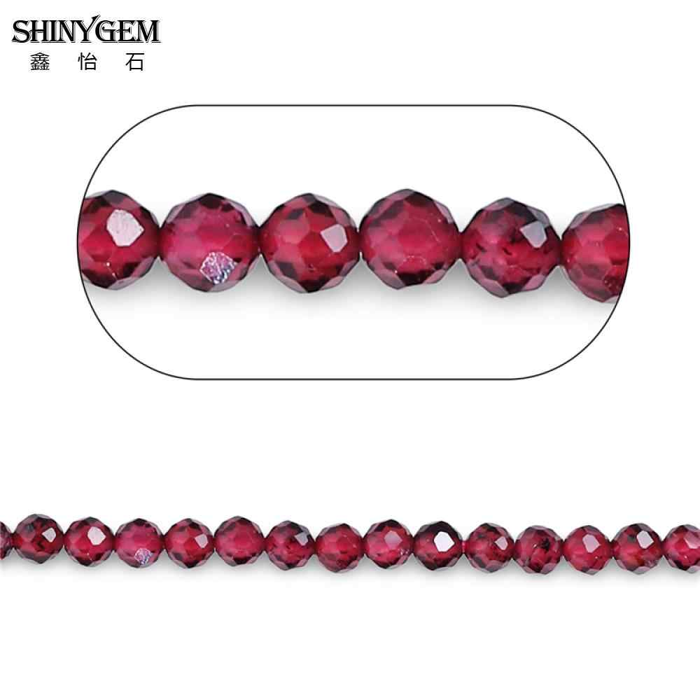 ShinyGem 2mm/3mm Faceted Round Garnet Beads AAAA Grade Genuine Garnet Sparkling Cut Small Natural Stone Beads For Jewelry Making