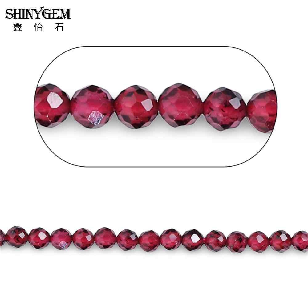 ShinyGem 2mm/3mm פיאות העגול גרנט חרוזים AAAA כיתה אמיתי גרנט נוצץ לחתוך קטן טבעי אבן חרוזים עבור תכשיטי ביצוע