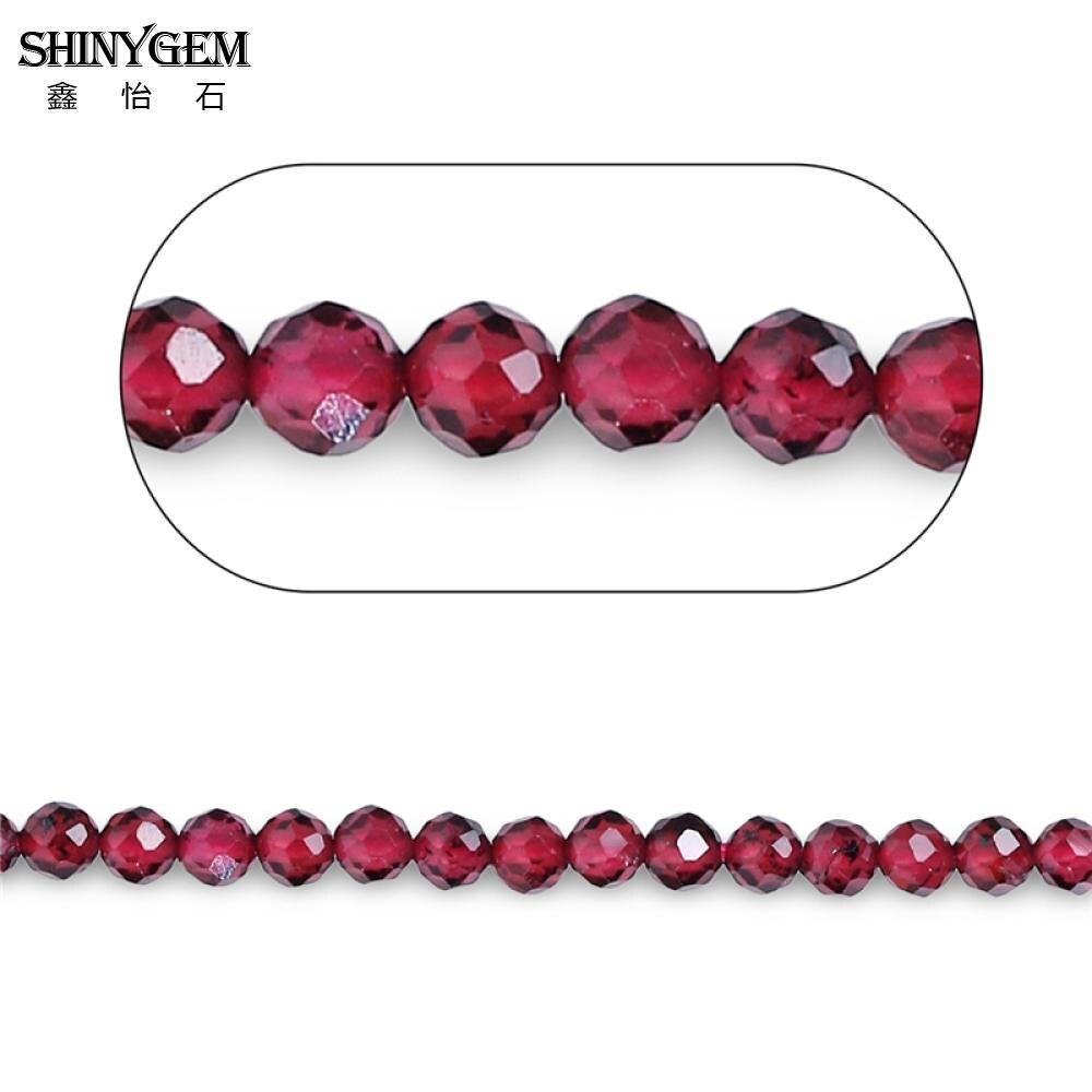 ShinyGem 2mm/3mm perles de grenat rondes à facettes AAAA Grade grenat véritable pétillant petites perles en pierre naturelle pour la fabrication de bijoux