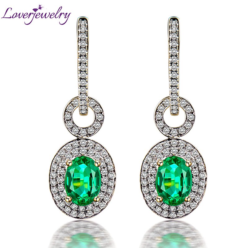 Natural Emerald Earrings Solid 14Kt Yellow Gold Genuine Diamond Emerald Earrings Oval 5x7mm For Women Anniversary