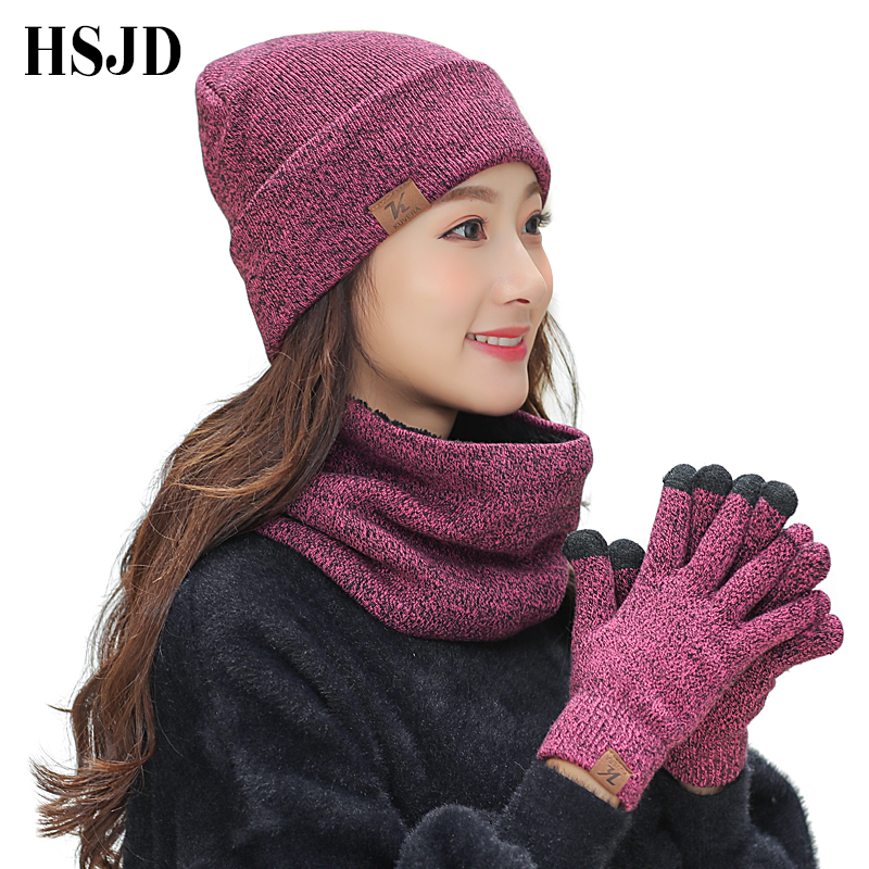 2018 Winter Knitted Hats Scarf Gloves Set Men Women Touch Screen Glove Scarves 3 Pieces Hat Thick   Skullies     Beanies   female cap