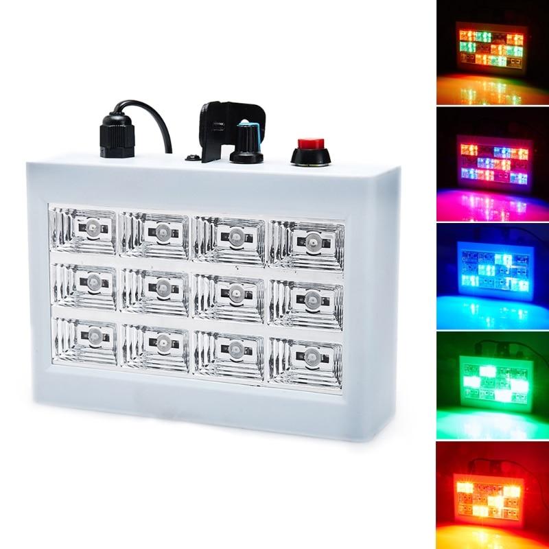 15W 12 LED Strobe RGB Stage Disco DJ Light Auto Sound Activated Adjustable Flash Speed Control L15 portable dj dance stage strobe led light voice activated mini r