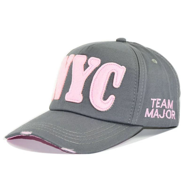 <font><b>NYC</b></font> letter sports curve baseball cap, cotton washed cap, outdoor leisure sun protection sun hat and sunhat, adjustable cap image