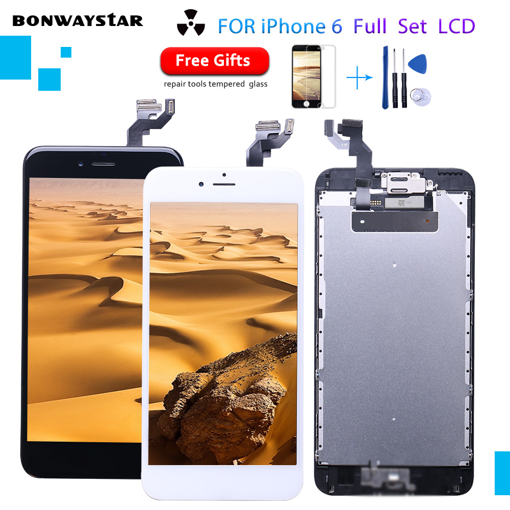Full Set LCD for iPhone 6 Screen Complete Assembly Display 6 A1549 A1586 Digitizer Replacement 6 With Front Camera Home Button