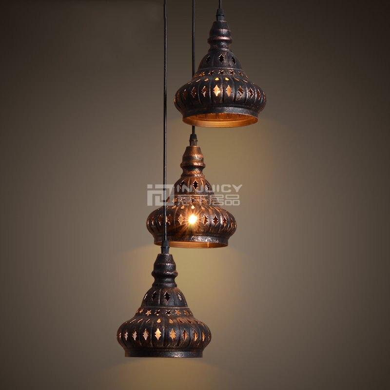 ФОТО Vintage India E14 Edison Iron Pendant Lamps Antique Industrial Hollow Metal Chandeliers Bar Cafe Restaurant Bedroom Reading Room