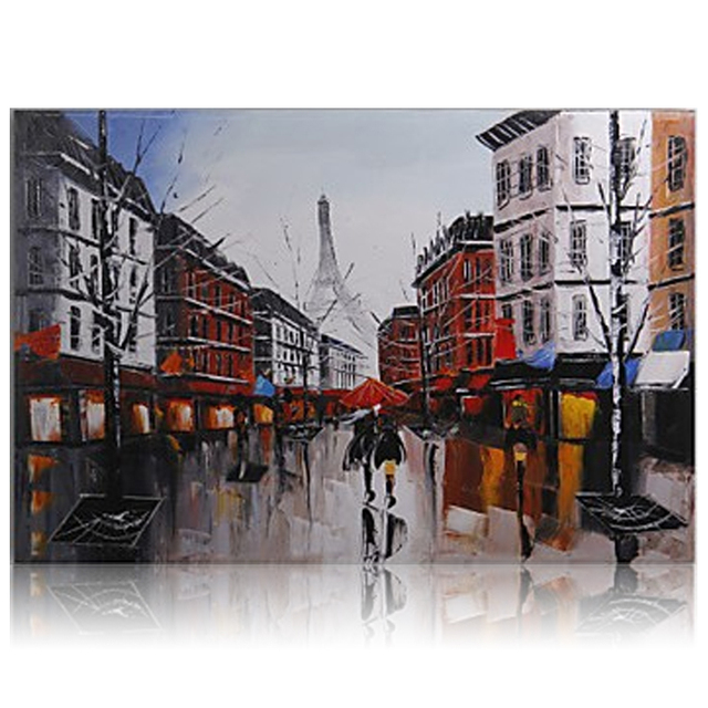 Hand Painted Modern Oil Painting Paris Street France Cityscape Landscape Home Decor 40x60cm