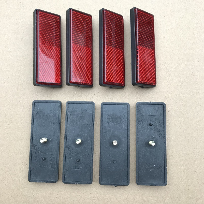 8XRectangle Red Reflectors Side Rear/Tail/Signal Reflective Effect Parts 87*32*10mm RV Campervan Motorhome Bus Trucks Screwed