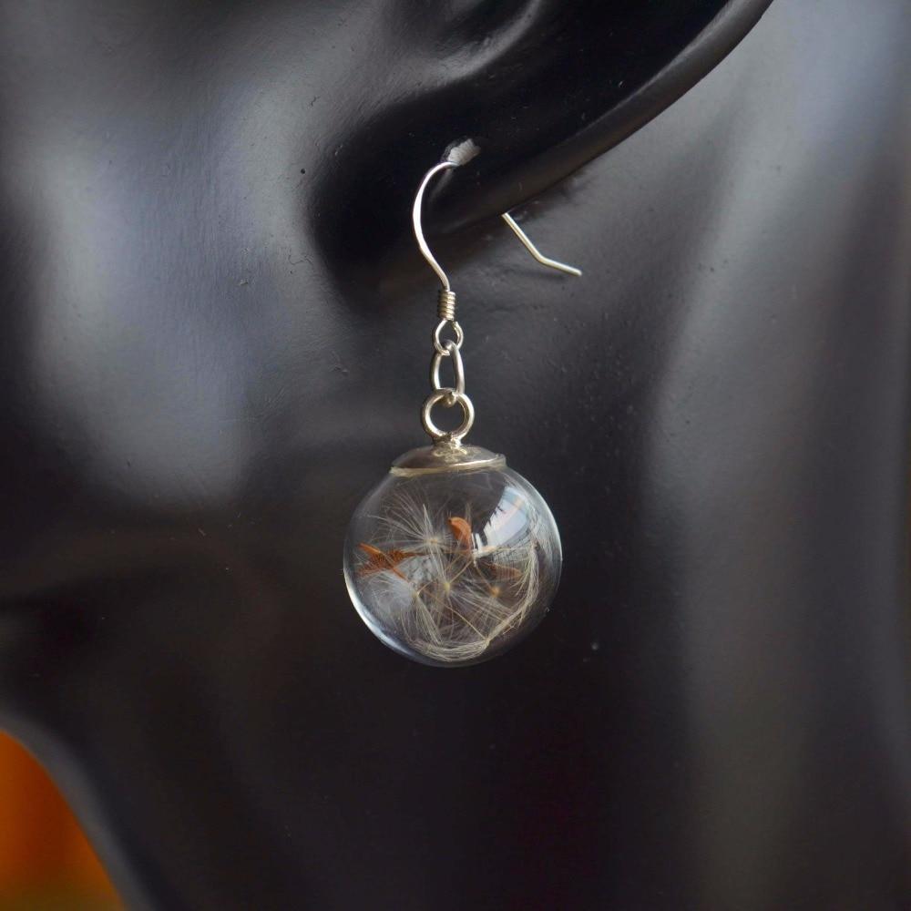 Dvojice Pampeliška semínka skutečný květ si přeje 925 mincový stříbrný náušnice pro ženy Boho módní šperky Bohemian 2019