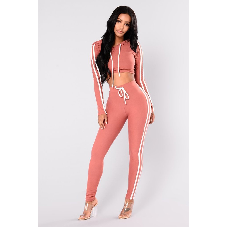 Zogaa Casual Long Sleeve Women Two Pieces Set Streetwear Sexy Hoodie Crop Top and Skinny Pants Solid Patchwork Sexy Tracksuits Price $24.00