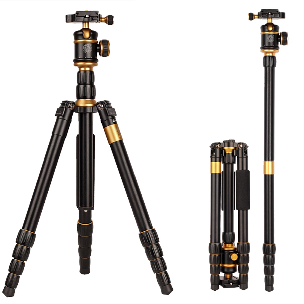 New QZSD Q888 Professional Aluminum Tripod Monopod with Ball Head For DSLR Camera / to camera / camera stand / Better than Q666 new qzsd q668 60 inch professional portable camera tripod for canon nikon sony dslr ball head monopod tripod stand loading 8kg