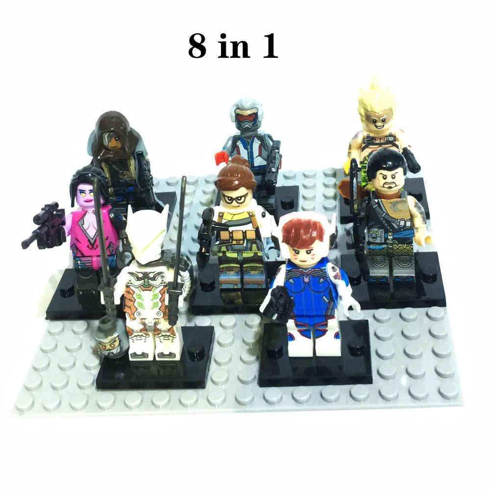 8 adet/takım rakamlar oyunu Overwatching yapı taşı uyumlu legoergy Overwatcing Infinity savaş düşük blokları oyuncak hediyeler için