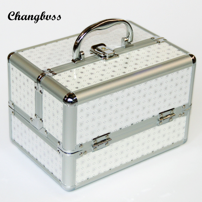 Portable Makeup Organizer Female Fashion PU Make Up Bag Cosmetic Neceser Pouch Sorting Storage Bag Women Dot Pattern Makeup Box fashion trunk neceser pu professional portable multifunctional large women makeup bag cosmetic case make up box travel toiletry
