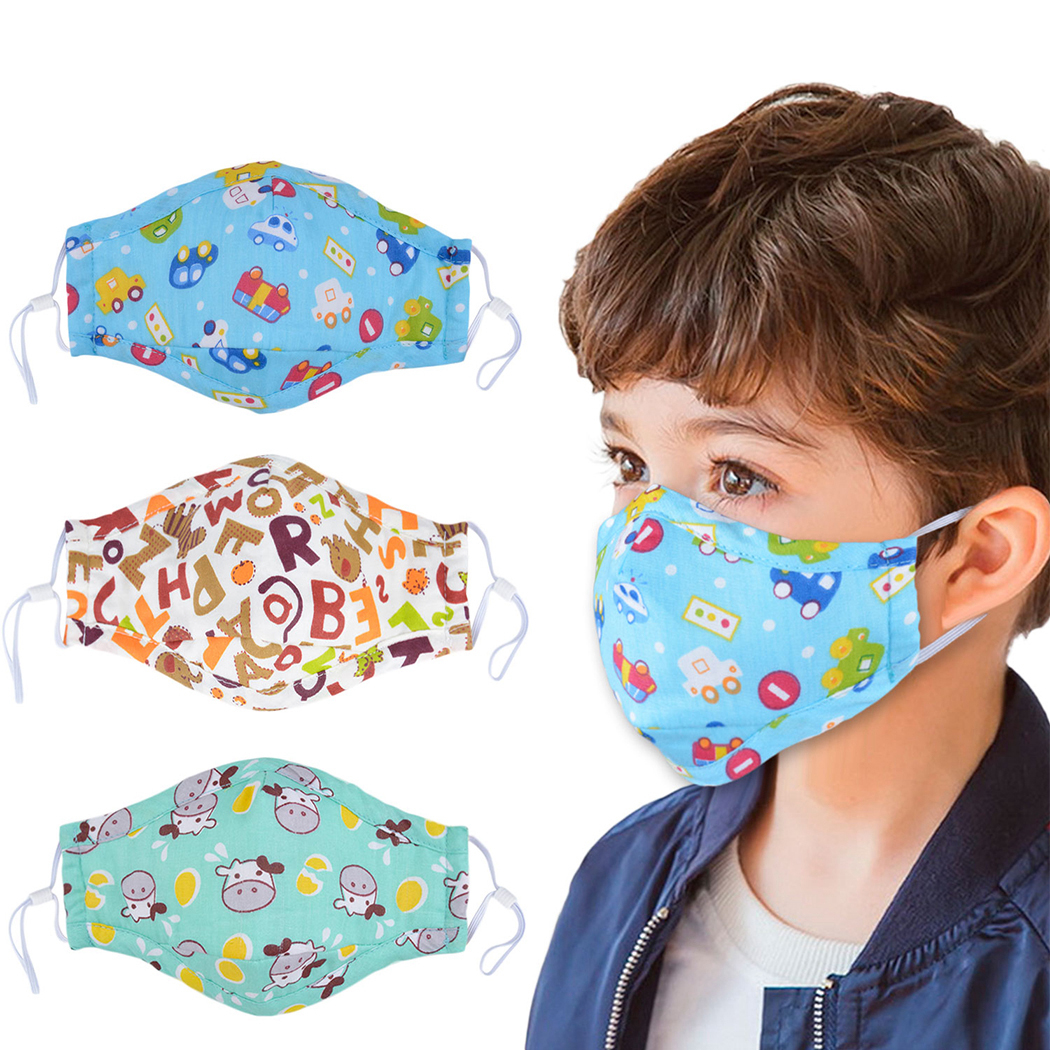 Kids Cartoon Mouth Mask Printing Dustproof Breathable PM2.5 Cotton Mouth Face Nose Mask Cover With Filter Respirator Anti-Dust