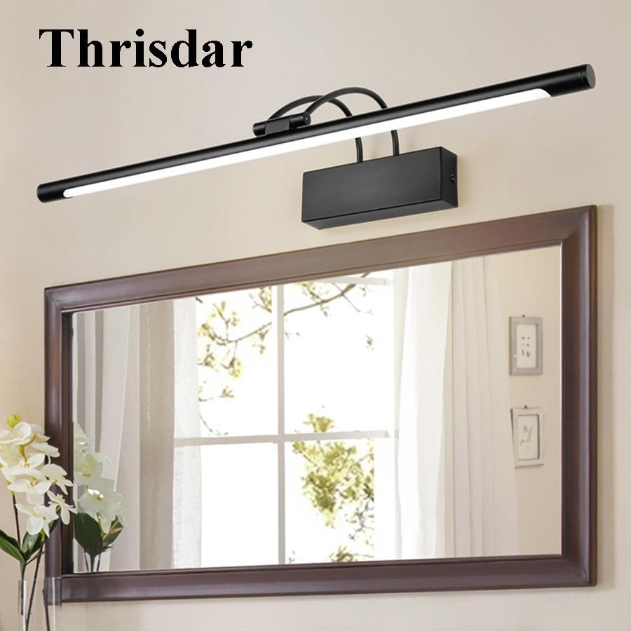 купить Thrisdar European Copper Vanity Mirror Front Lamp Retro Bathroom Cabinet Mirror Wall light Anti-fog Make-up Acrylic Mirror Light недорого