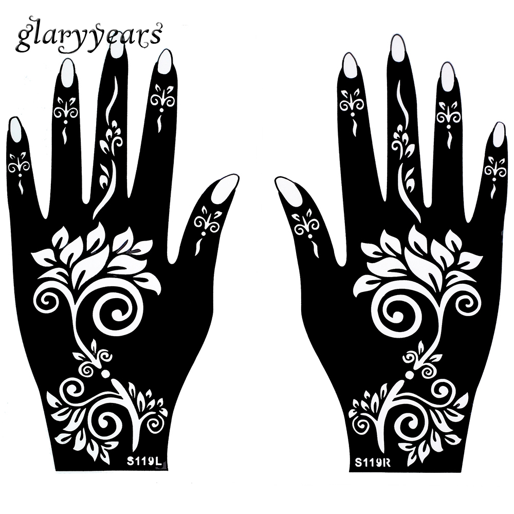 1 pair hands mehndi henna tattoo stencil waterproof flower pattern design airbrush paint tattoo. Black Bedroom Furniture Sets. Home Design Ideas