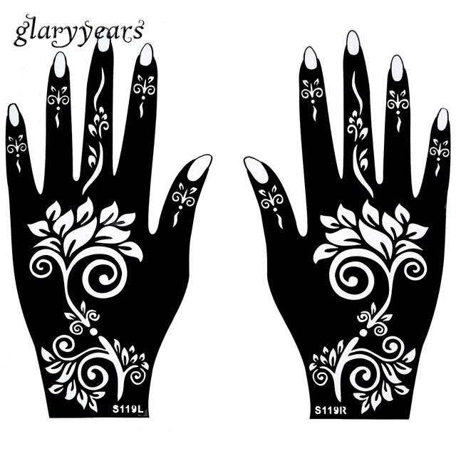 1 pair hands mehndi henna tattoo stencil waterproof flower pattern